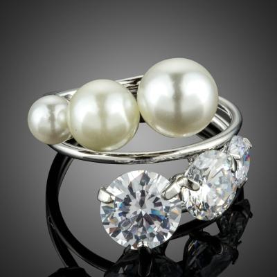 Prsten s perlou a Swarovski Elements krystaly Croce