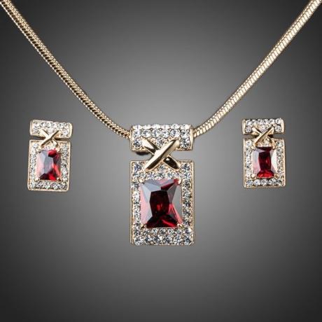 Souprava náhrdelníku a náušnic Swarovski Elements Rubino
