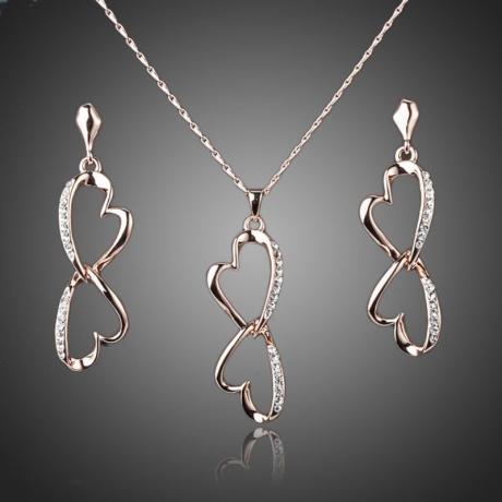 Souprava náhrdelníku a náušnic Swarovski Elements Amicia-srdíčko