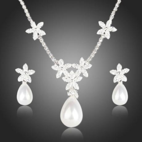 Dámská souprava náhrdelníku a náušnic s perlou Akadia