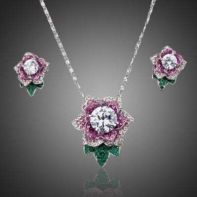 Souprava náhrdelníku a náušnic Swarovski Elements Ruffina - květina
