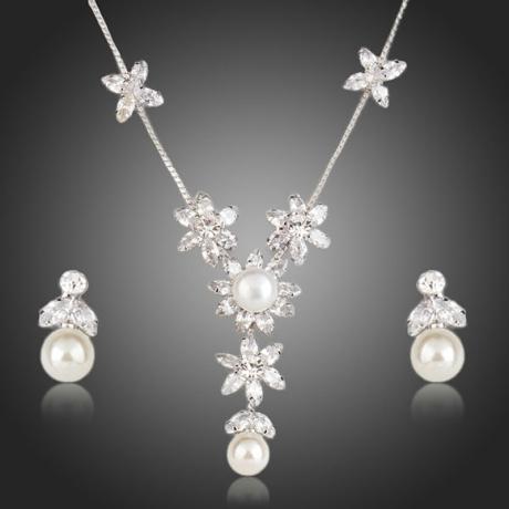 Souprava náhrdelníku a náušnic Swarovski Elements Shannelle - květina