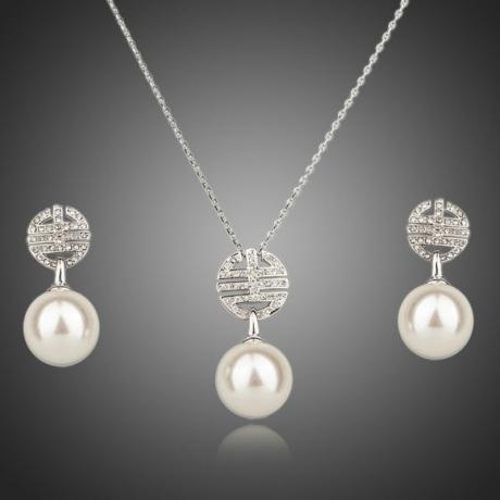 Souprava náhrdelníku a náušnic s perlou Masselin Silver