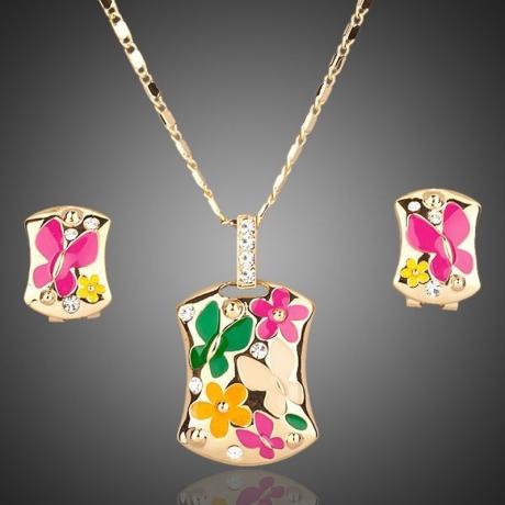 Souprava náhrdelníku a náušnic Swarovski Elements Cyrille - motýlek