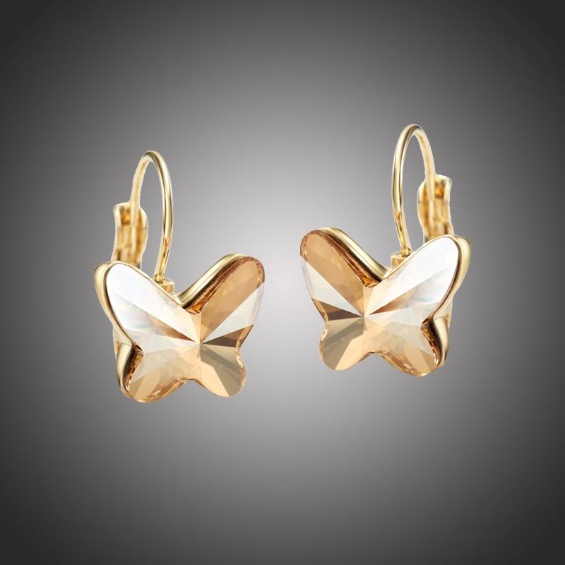 Náušnice Swarovski Elements Montanari zlaté - motýlek