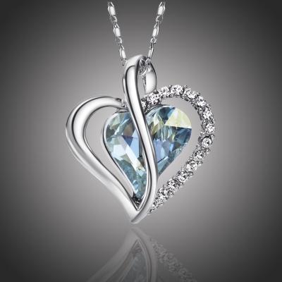 Náhrdelník Swarovski Elements True Love modrý - srdíčko