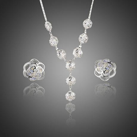 Souprava náhrdelníku a náušnic Swarovski Elements Lumière - květina