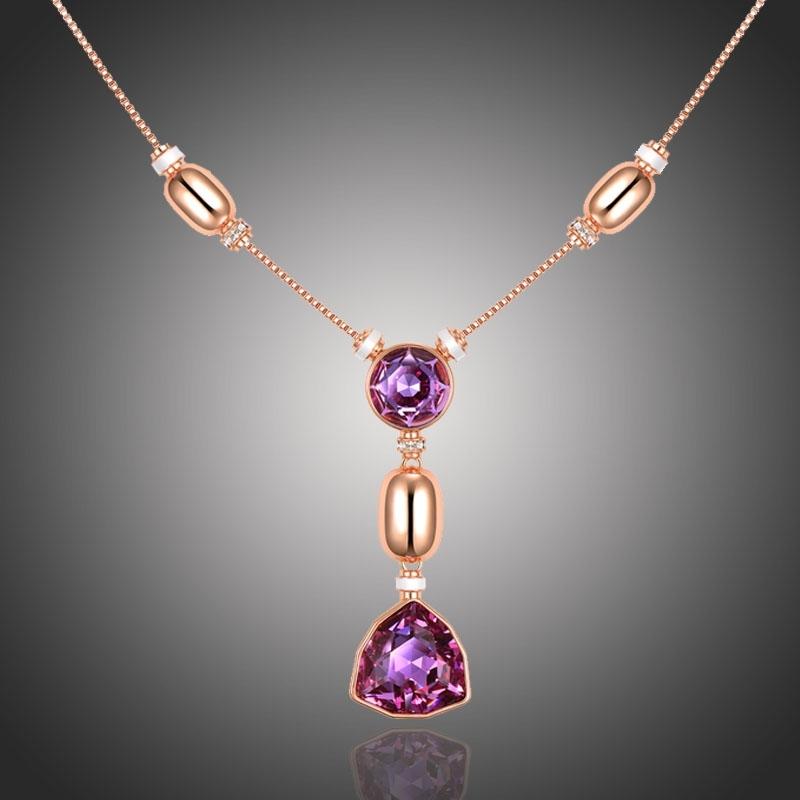 Pozlacený náhrdelník Swarovski Elements Bellezza Viola
