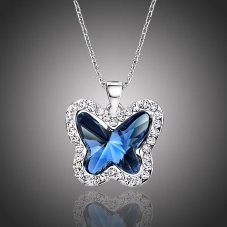 Náhrdelník Swarovski Elements Montanari modrý - motýl
