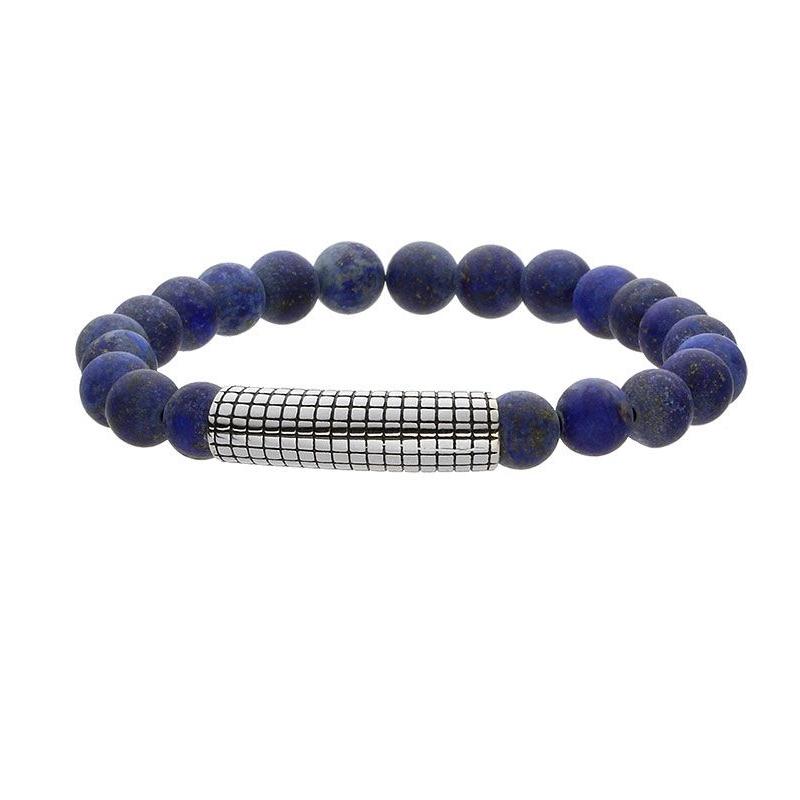 Pánský náramek Vincent chirurgická ocel a přírodní Lapis Lazuli