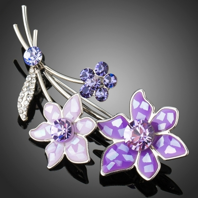 Brož Swarovski Elements Cera - květina