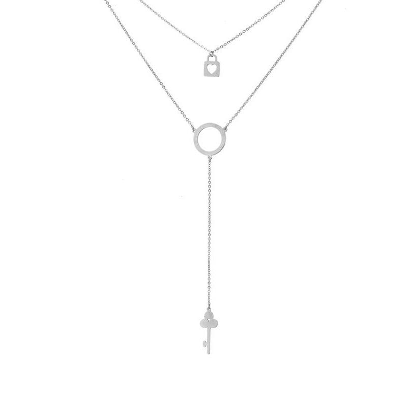 Náhrdelník Frida chirurgická ocel - klíč a zámek