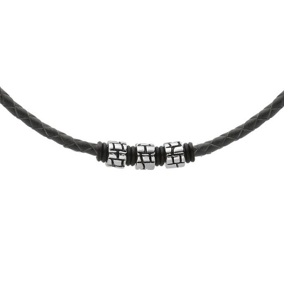 Pánský náhrdelník Sebastien přírodní kůže a chirurgická ocel