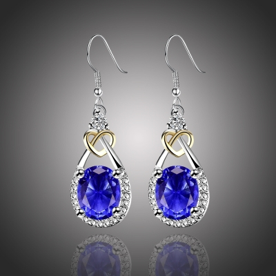 Náušnice Swarovski Elements Santini Sapphire - srdíčko