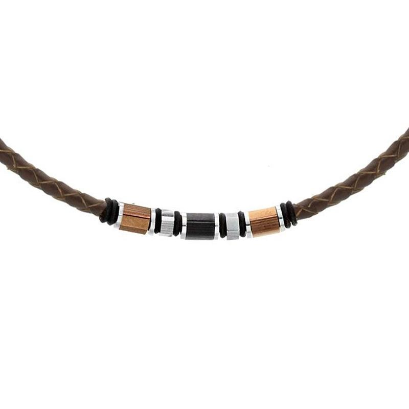 Pánský náhrdelník Sócrates přírodní kůže a chirurgická ocel