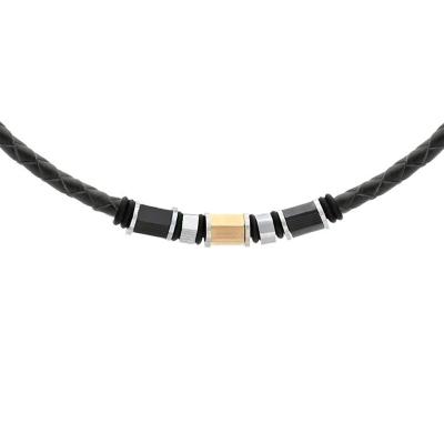 Pánský náhrdelník Anastacio přírodní kůže a chirurgická ocel