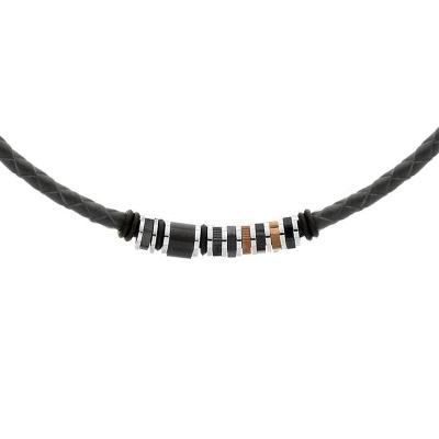 Pánský náhrdelník Ángel přírodní kůže a chirurgická ocel
