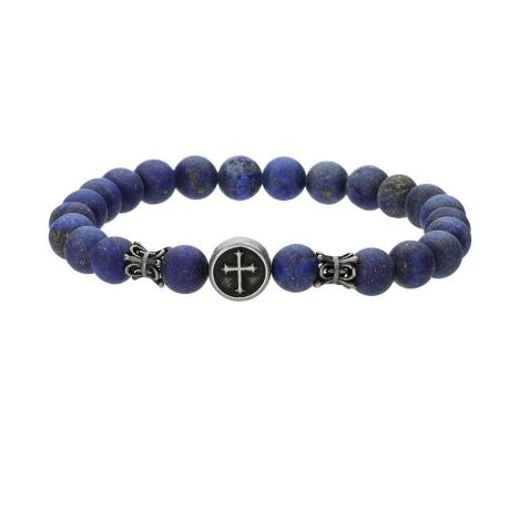Pánský náramek Josh chirurgická ocel a  přírodní Lapis Lazuli