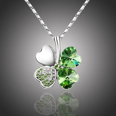Náhrdelník Swarovski Elements Čtyřlístek pro štěstí - zelený