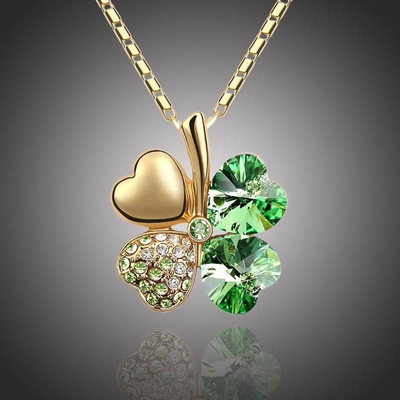Náhrdelník Swarovski Elements Čtyřlístek pro štěstí - zlato zelený