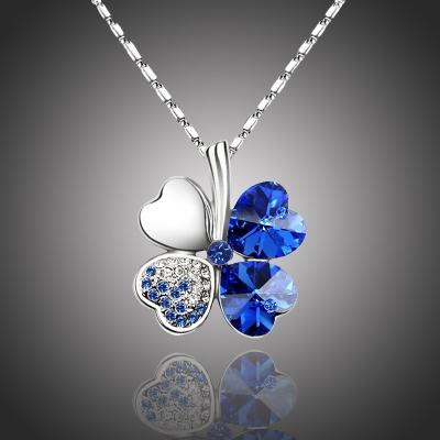 Náhrdelník Swarovski Elements Čtyřlístek pro štěstí - tmavě modrý