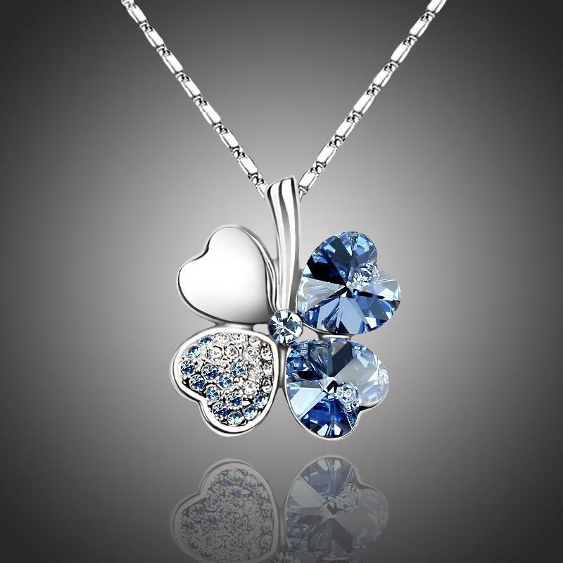Náhrdelník Swarovski Elements Čtyřlístek pro štěstí - světle modrý