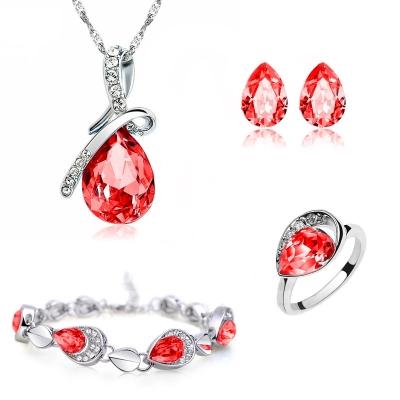 Souprava náhrdelníku, náušnic a náramku Tear Drop + prsten zdarma