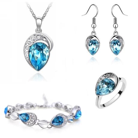 Souprava Swarovski Elements Ocean Blue + prsten zdarma