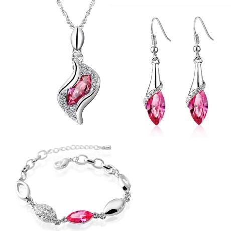 Souprava náhrdelníku, náušnic a náramku Andělské slzy růžové krystaly