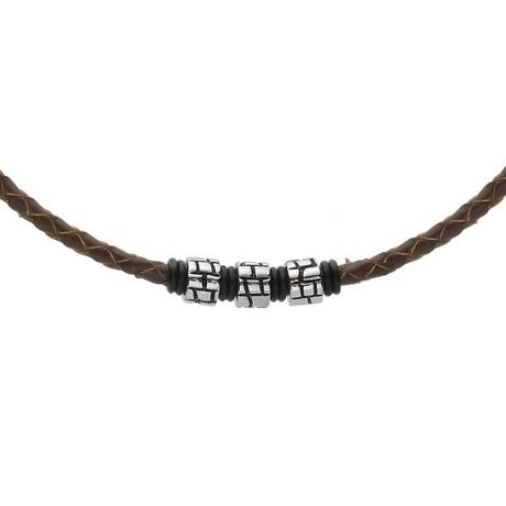 Pánský náhrdelník Lewis přírodní kůže a chirurgická ocel
