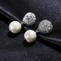 Exkluzivní náušnice s perlou a zirkony Noblessa