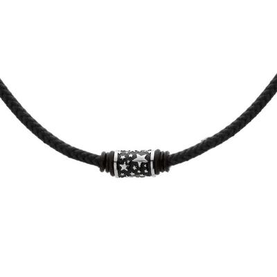 Pánský náhrdelník Jason chirurgická ocel, bavlněná šňůrka