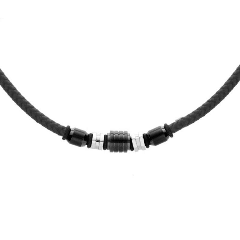 Pánský náhrdelník Leon chirurgická ocel, bavlněná šňůrka