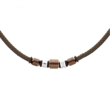 Pánský náhrdelník Heinz chirurgická ocel, bavlněná šňůrka