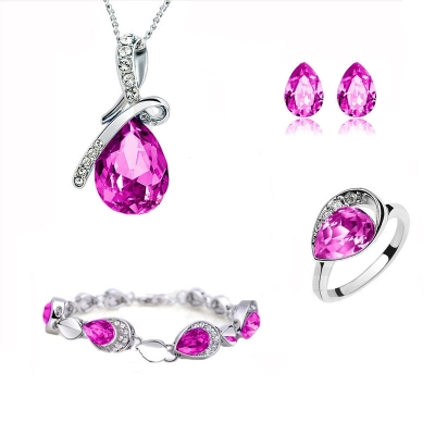 Souprava Swarovski Elements Tear Drop Rose + prsten zdarma