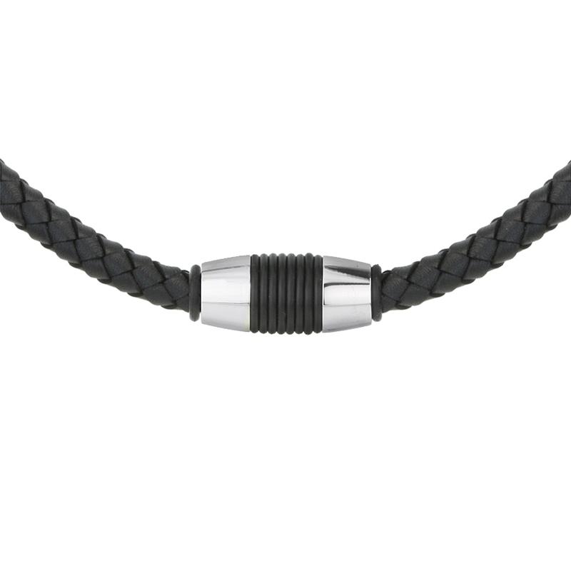 Pánský ocelový náhrdelník Jean chirurgická ocel, přírodní kůže