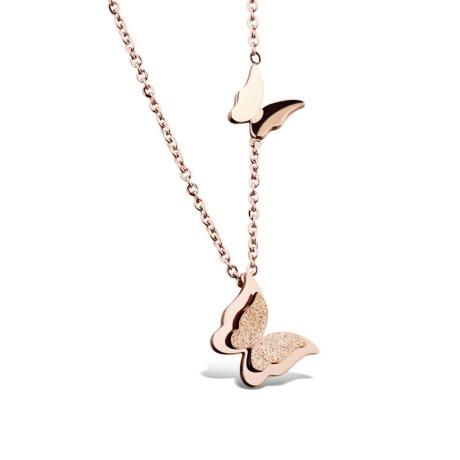 Ocelový náhrdelník Parisi Rose Gold - chirurgická ocel, motýlek